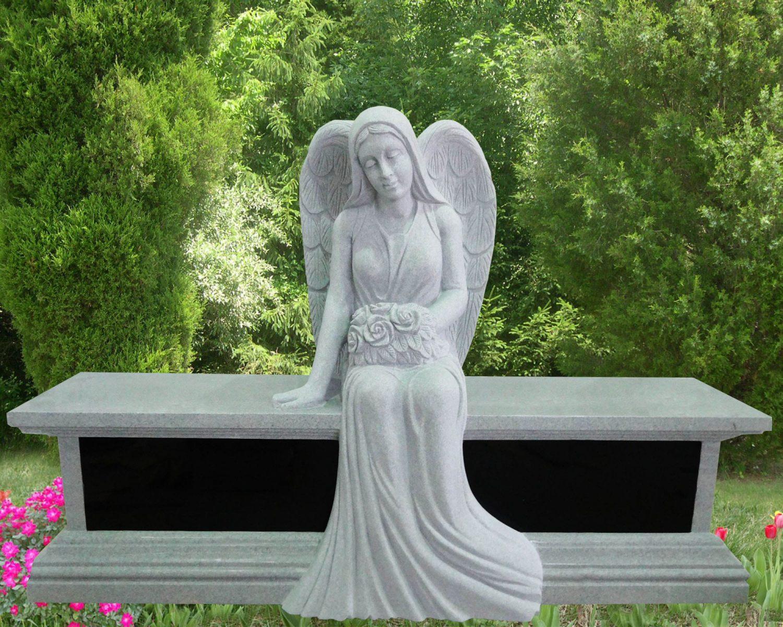 EG-13-212-908-42 / Fine Gray & Black Sitting Angel over Bench