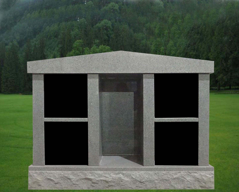 EG-15-203-915 / Fine Gray & Black / 4 Niche Columbarium with Alcove