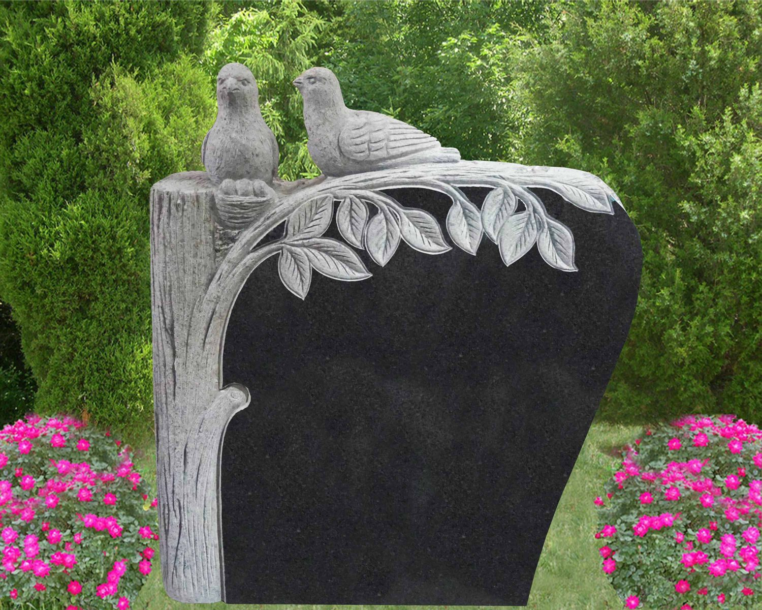 EG-16-364-19 / Jet Black / Sculpted Tree with Birds & Eggs