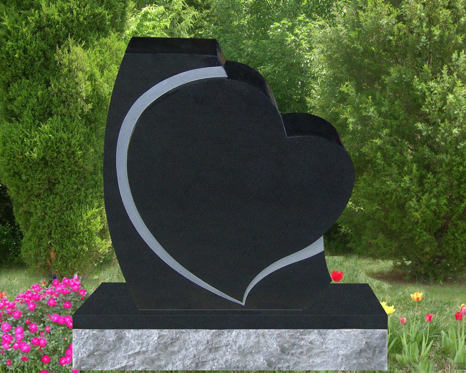 EG-17-01-433 / Jet Black / Tilted Single Heart Memorial