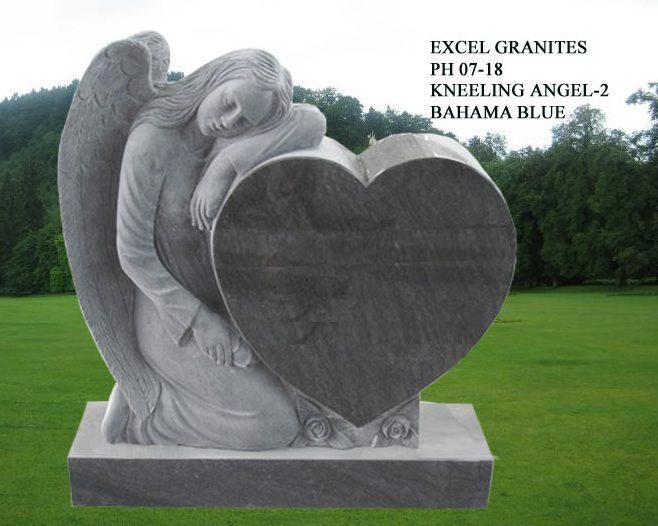 EG-07-18 / Bahama Blue / Kneeling Angel with Single Heart