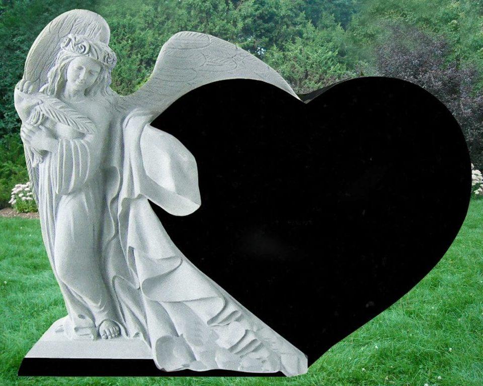 EG-09-08 / Jet Black / Draped Angel beside Single Heart