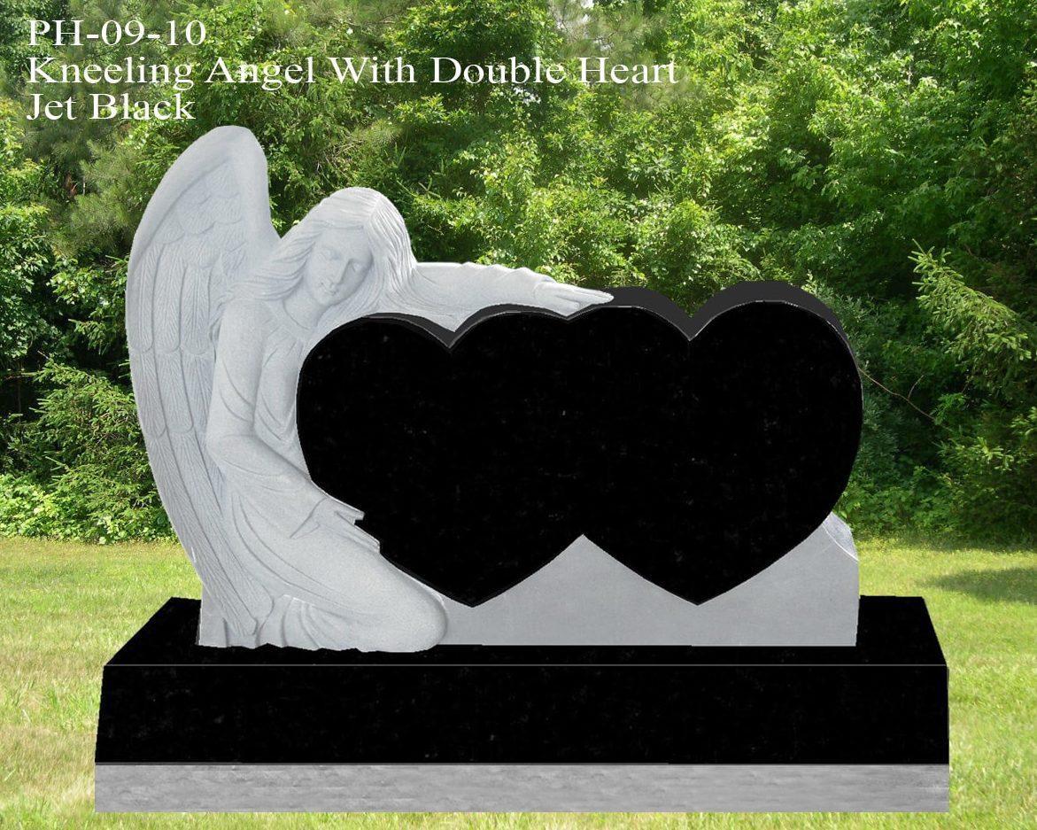 EG-09-10 / Jet Black / Single Kneeling Angel with Double Heart