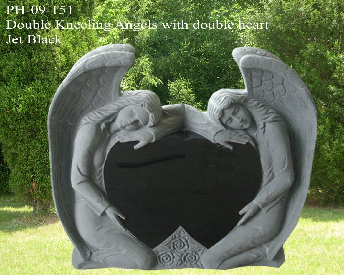 EG-09-151 / Jet Black / Double Kneeling Angel with Double Heart