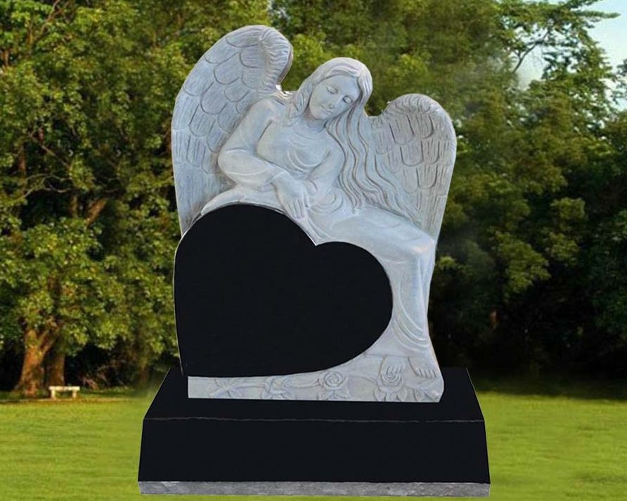 EG-12-114-904 / Jet Black / Kneeling Angel over Tilted Heart
