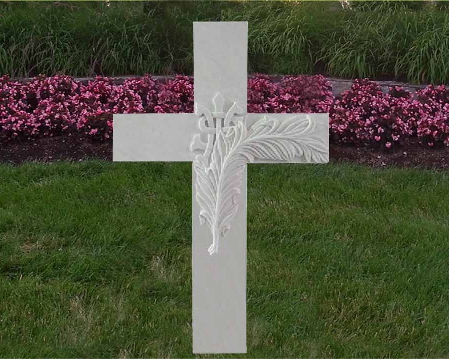EG-12-95-902 / White Marble / Latin Cross with Raised Carving