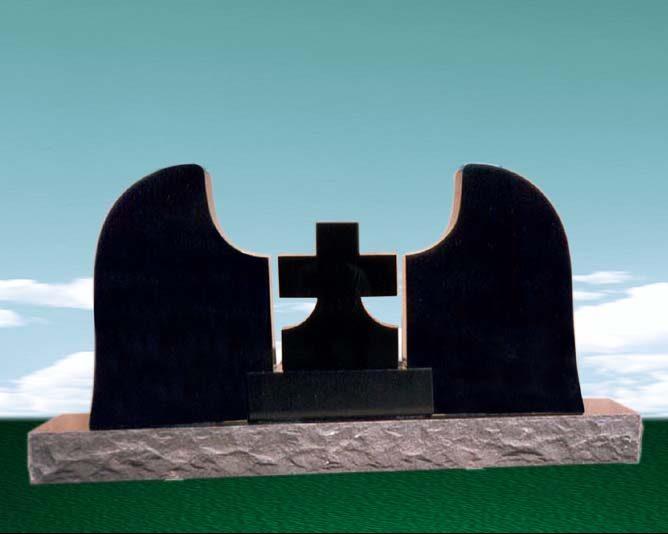EG-156 / Jet Black / Angel Wings w/ Cross & Plinth