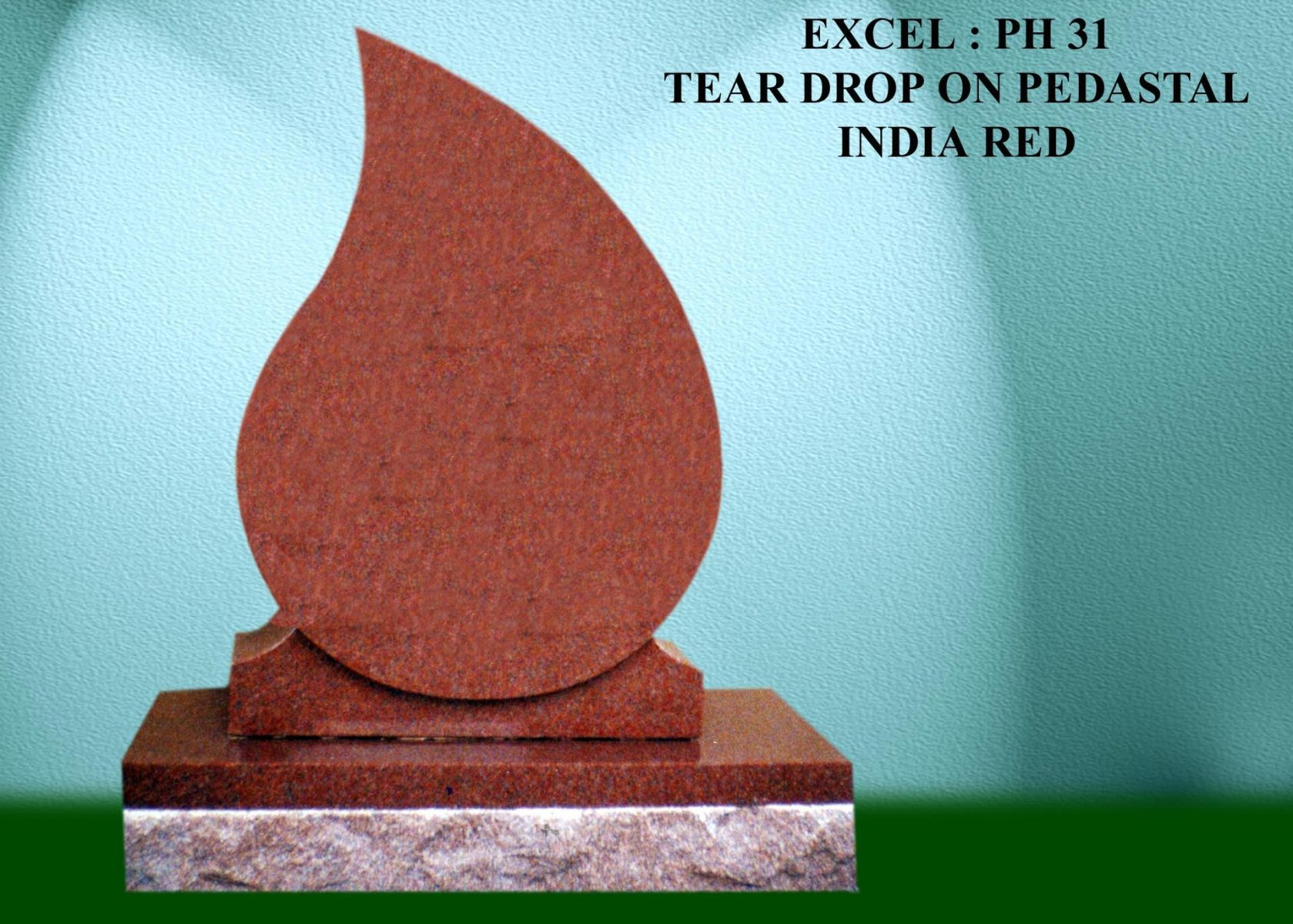 EG-31 / India Red / Left-Pointing Raised Tear Drop