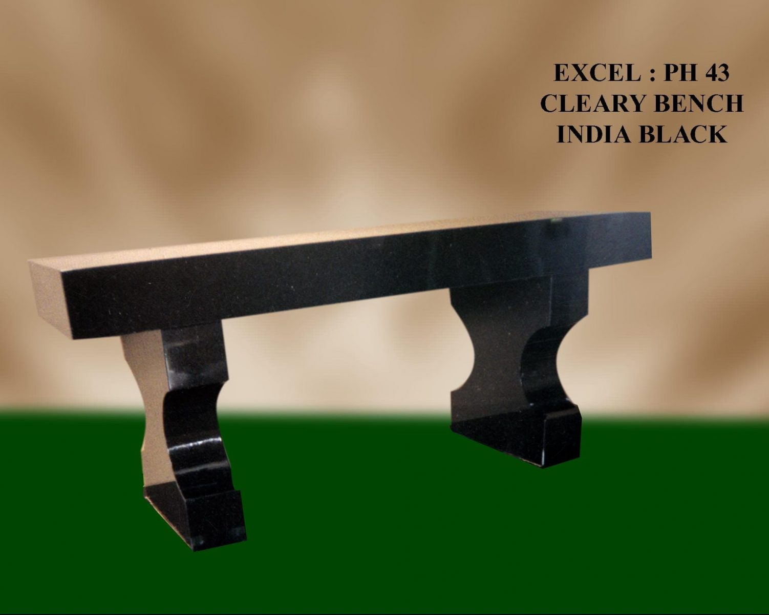 EG-43 / Jet Black / Curved Leg (Hourglass) Bench