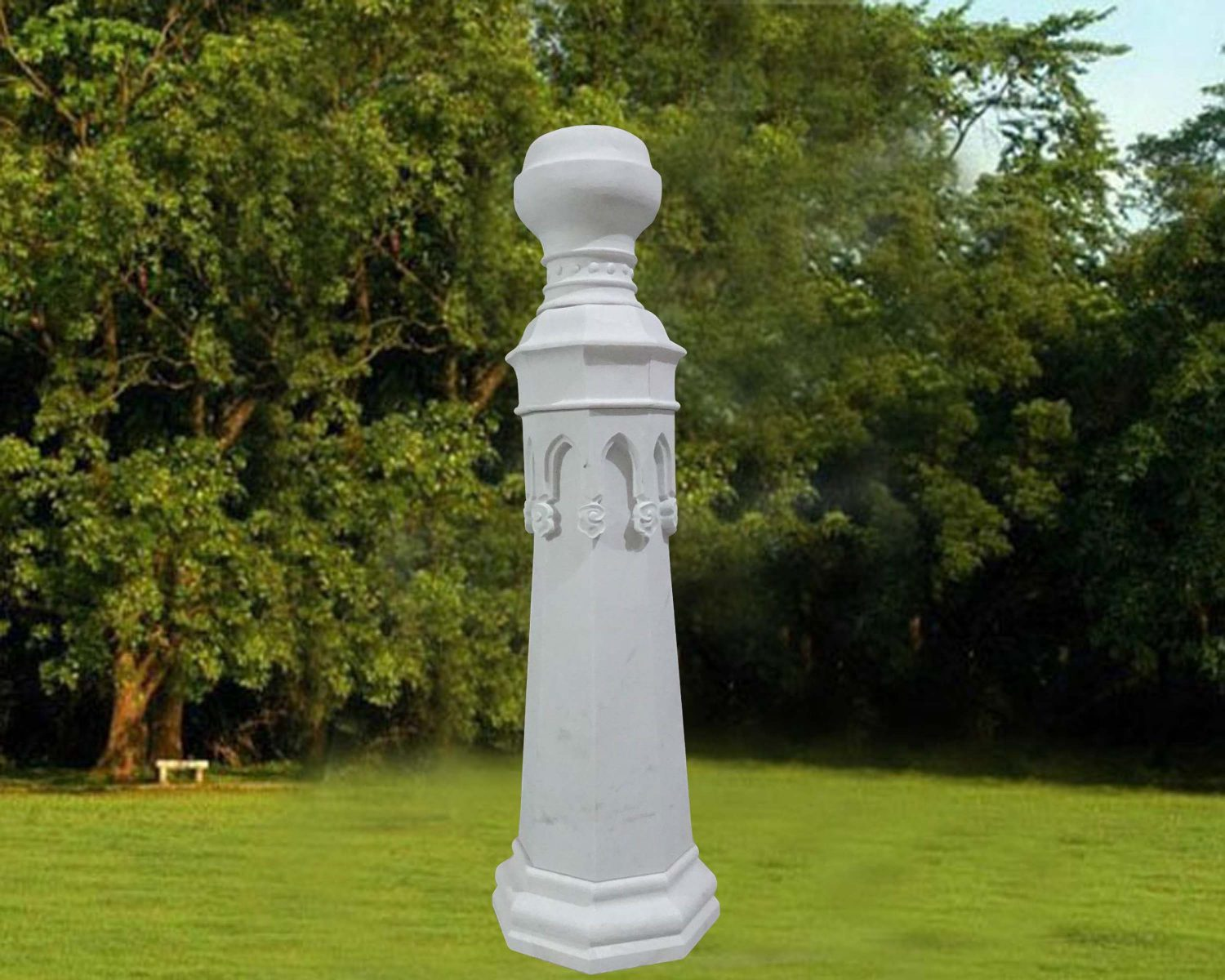 EG-15-206-915 / White Marble / Antique Gothic Obelisk with Urn