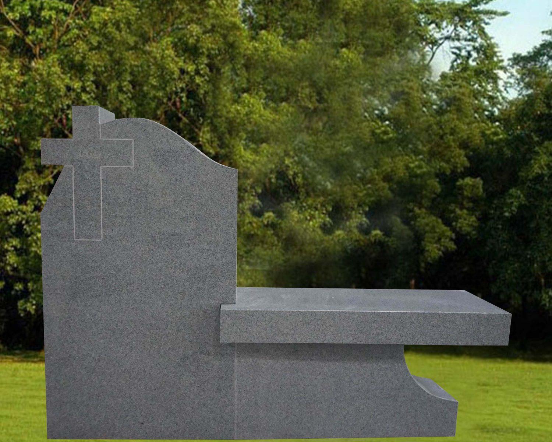EG-16-255-917 / Fine Gray / Cross Die with Pedestal Leg Bench