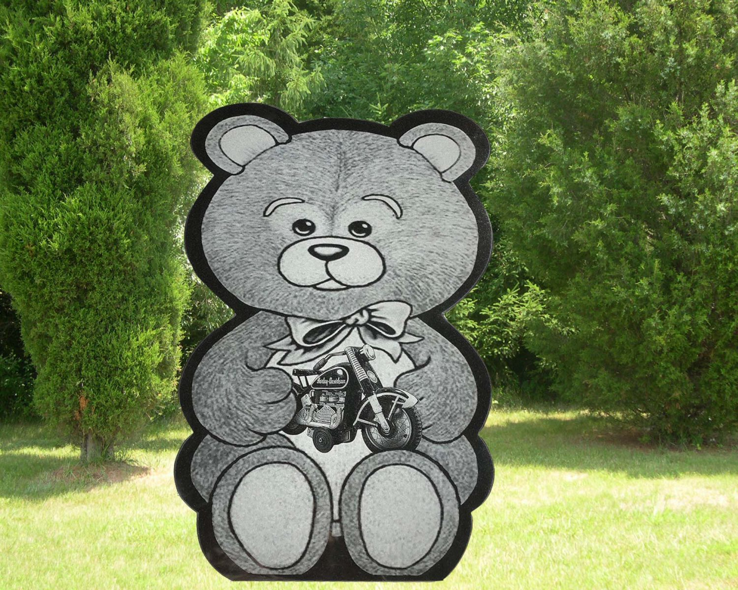 EG-18-200 / Jet Black / Teddy Bear & Bike Etching