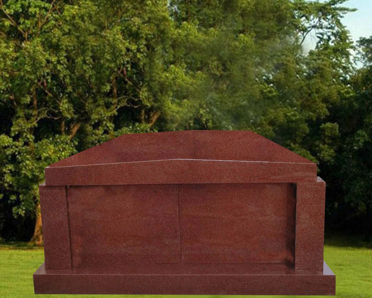 EG-18-221 / India Red / 2 Crypt Mausoleum with Rooftop