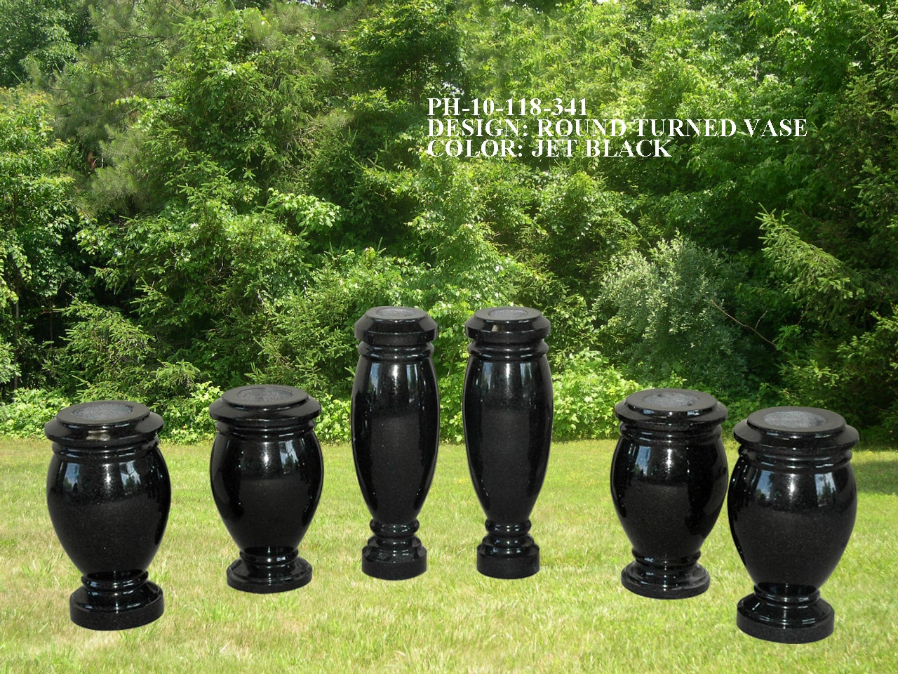EG-10-118-341 / Jet Black / Round Turned Vases