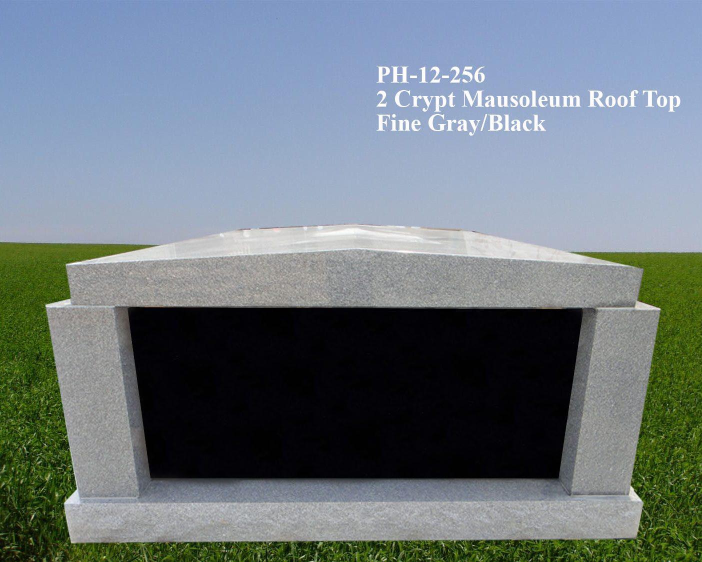 EG-12-256 / Fine Gray & Black / 2 Crypt Rooftop Mausoleum