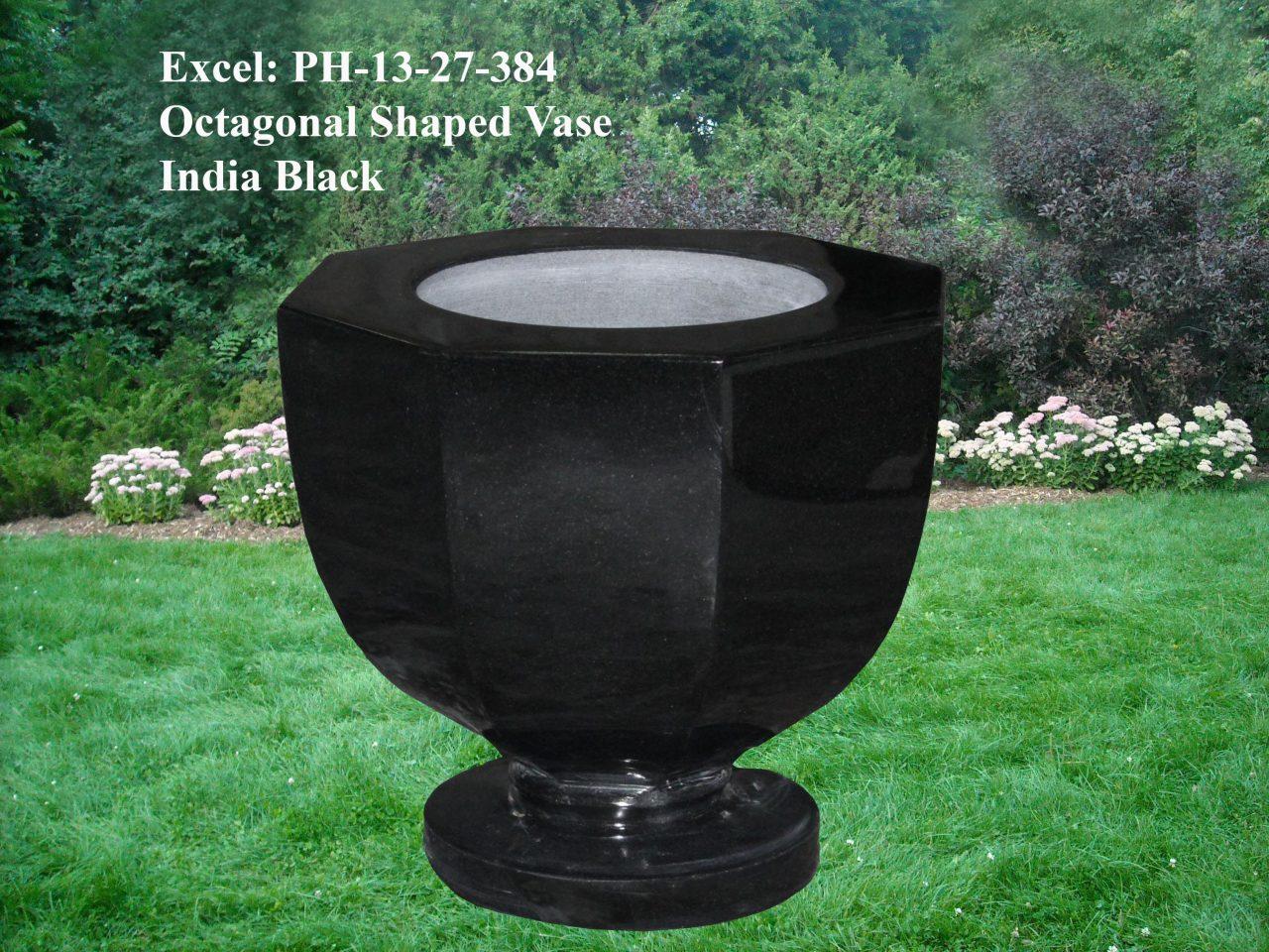 EG-13-27-384 / India Black / Octagonal Shaped Vase